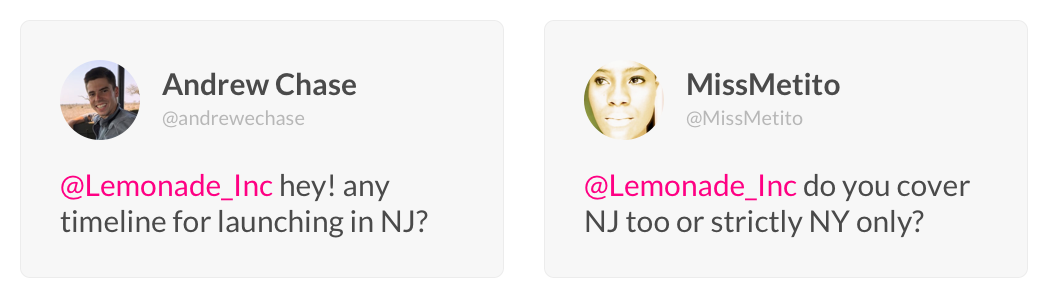 Lemonade arriving in New Jersey Customer Testimonials