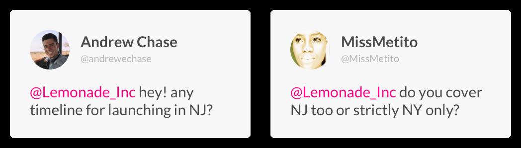 Lemonade arriving in New Jersey Customer Testimonials