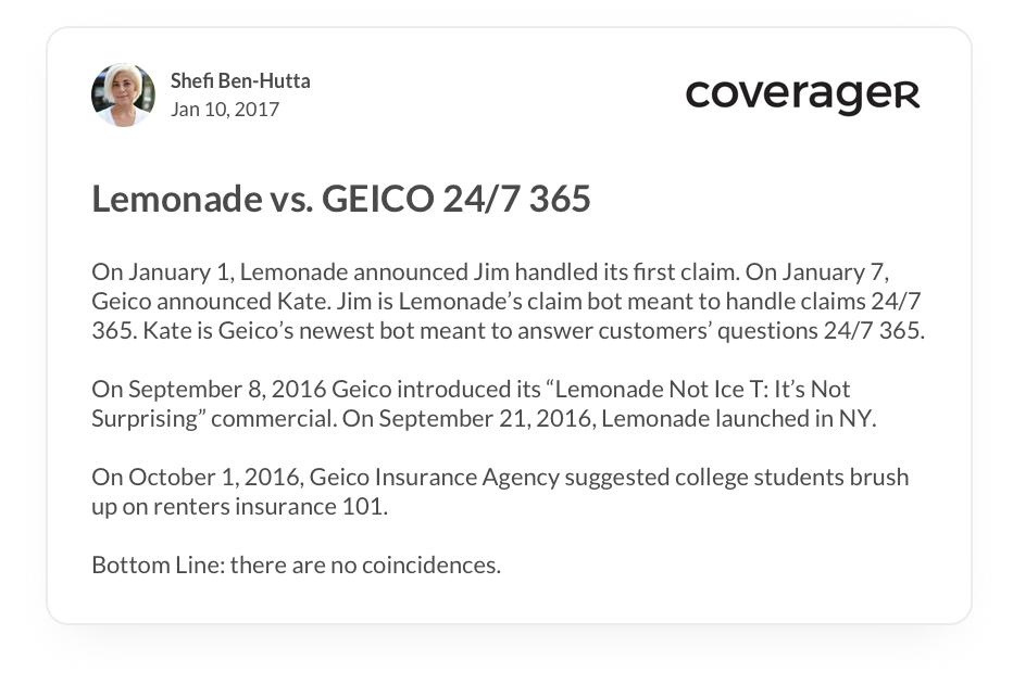 Lemonade vs. Geico review