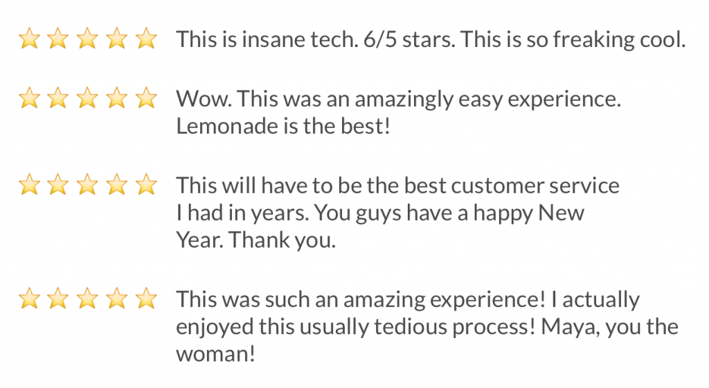 Lemonade customer experience AI review