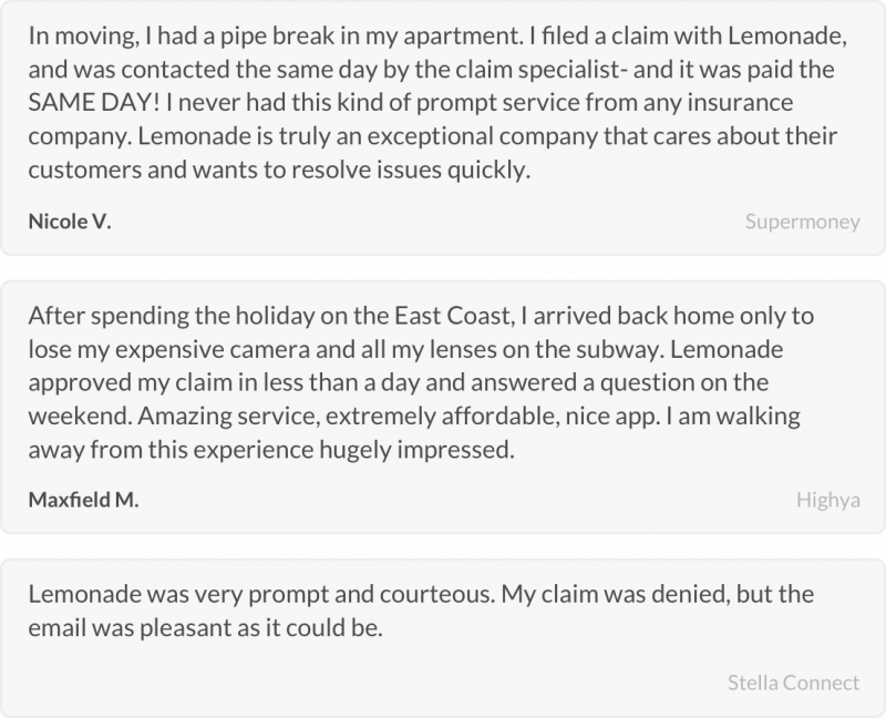 Positive claims reviews for Lemonade insurance