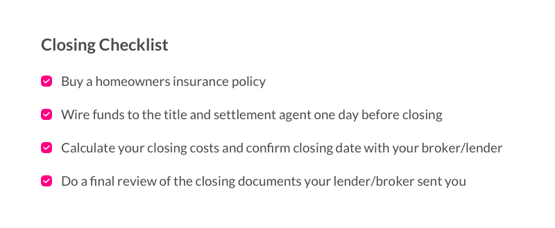 A list of things to do before closing your mortgage